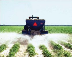 Photo of farm machinery applying FGD Gypsum